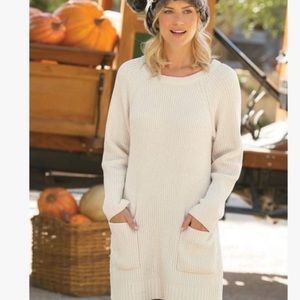 Soft Surrounding Cream Chenille Pocket Sweater M